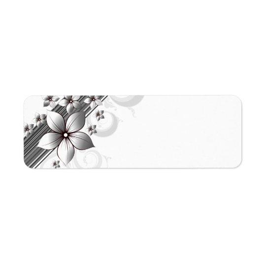 黒のエレガントな花のボーダーラベル 返信用宛名ラベル