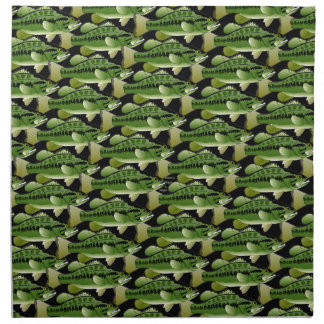 黒のオオクチバスの迷彩柄パターン ナプキンクロス