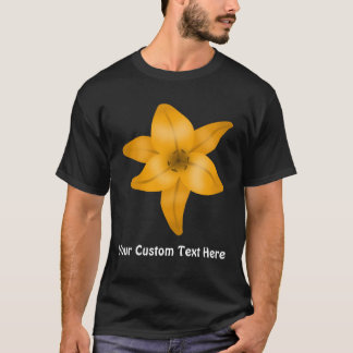 黒のオニユリの花 Tシャツ