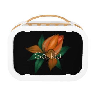 黒のオレンジ花 ランチボックス