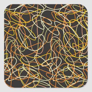 黒のオレンジ、金ゴールド及び黄色のオーガニックな形 スクエアシール