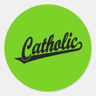 黒のカトリック教の原稿のロゴ ラウンドシール