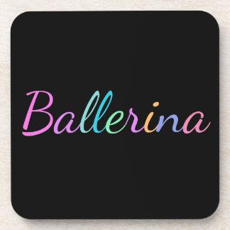 """黒のカラフルなレタリングの""""バレリーナ"""" コースター"""
