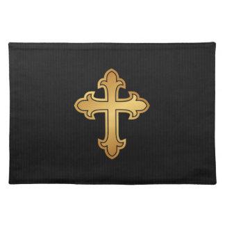 黒のキリスト教の十字のフルーリの金ゴールド ランチョンマット
