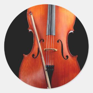 黒のクラシックなチェロ ラウンドシール