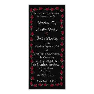 黒のクラシックな赤いバラの結婚式招待状 カード
