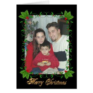 黒のクリスマスの挨拶状のヒイラギフレーム カード