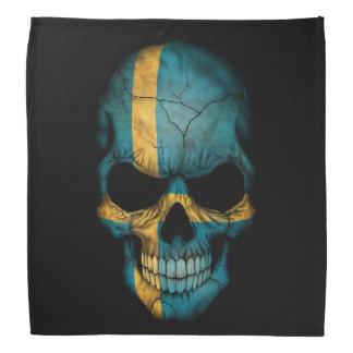 黒のスウェーデンの旗のスカル バンダナ