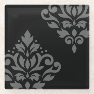 黒のスクロールダマスク織の芸術Iの灰色 ガラスコースター