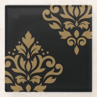 黒のスクロールダマスク織の芸術Iの金ゴールド ガラスコースター