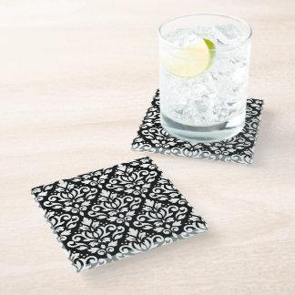 黒のスクロールダマスク織パターン白 ガラスコースター