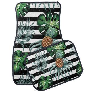 黒のストライブ柄が付いている水彩画の熱帯パイナップル カーマット