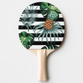 黒のストライブ柄が付いている水彩画の熱帯パイナップル 卓球ラケット