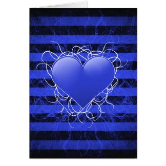 黒のストライブ柄とのゴシック様式パンクのemoの青いハート カード