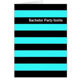 黒のストライプの(青い)バチュラーパーティの招待カード カード