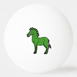 黒のストライプを持つ緑のシマウマ 卓球ボール