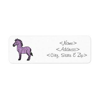 黒のストライプを持つ薄紫のシマウマ ラベル