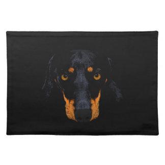 黒のダックスフント犬の顔 ランチョンマット