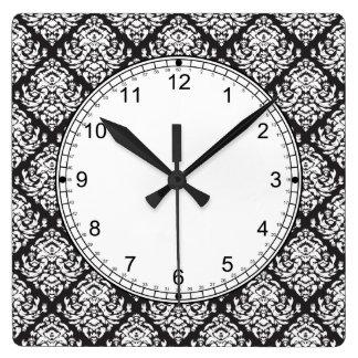 黒のダマスク織の白 スクエア壁時計