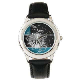 黒のティール(緑がかった色)の青く、銀製のモノグラム 腕時計