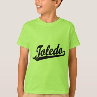 黒のトレドの原稿のロゴ Tシャツ