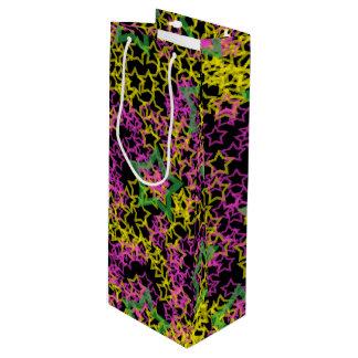 黒のネオンピンクの緑及び黄色の星の輪郭 ワインギフトバッグ