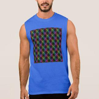 黒のネオン虹の格子縞 袖なしシャツ