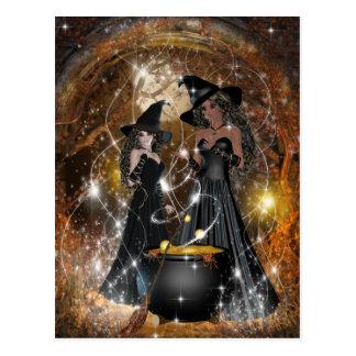 黒のハロウィンの魔法使い ポストカード