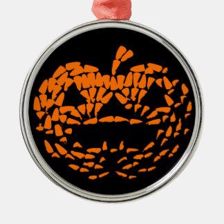 黒のハロウィーンのカボチャのちょうちんアイコンオレンジ メタルオーナメント