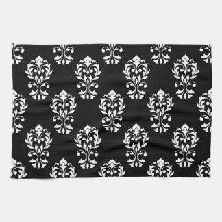 黒のハートのダマスク織のPtnの白 キッチンタオル