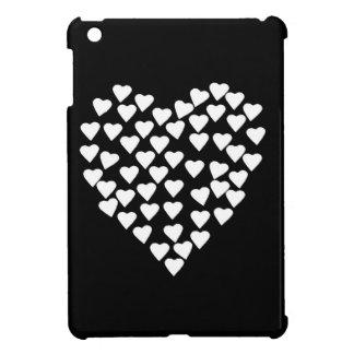 黒のハートのハートの白 iPad MINIカバー