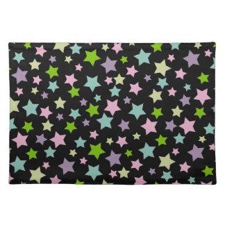 黒のパステル調の星パターン ランチョンマット