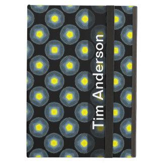 黒のパーソナライズされたで黄色い灰色の円パターン iPad AIRケース