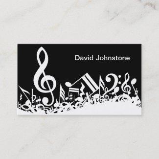 黒のパーソナライズで白く乱雑な音符 名刺