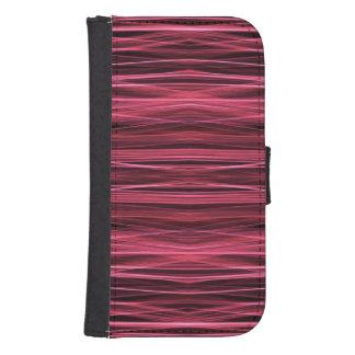黒のピンクおよび赤線 ウォレットケース