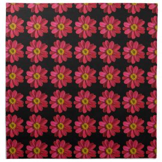 黒のピンクおよび黄色い花 ナプキンクロス
