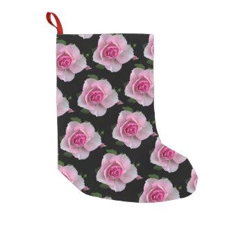 黒のピンクのバラ スモールクリスマスストッキング