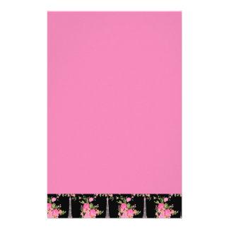 黒のピンクの花のエッフェル塔 便箋