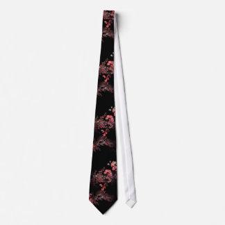 黒のピンクの花柄 ネクタイ