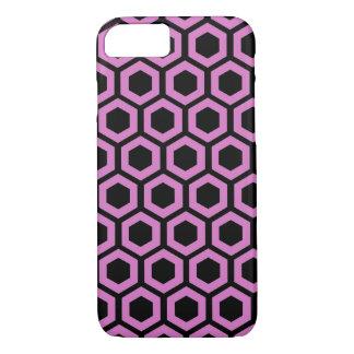 黒のピンクの蜜蜂の巣パターン iPhone 7ケース
