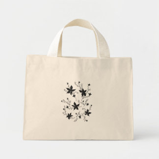黒のファンタジーの花 ミニトートバッグ