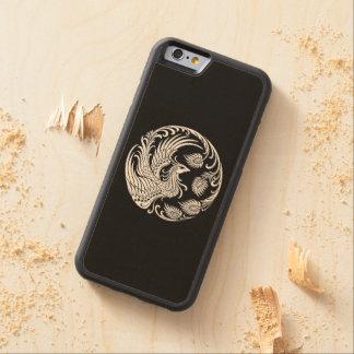 黒のフェニックスの伝統的で白い円 CarvedメープルiPhone 6バンパーケース