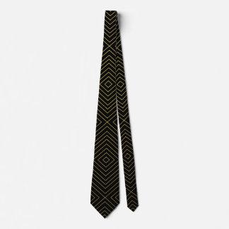 黒のモダンで幾何学的な金ゴールドの正方形パターン ネクタイ