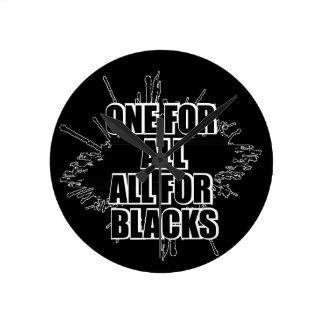 黒のラグビーの時計のためのすべてのすべてのための1つ ラウンド壁時計