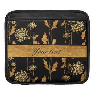 黒の上品で模造のな金ゴールドホイルの花 iPadスリーブ