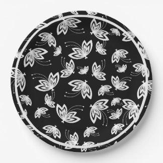 黒の上品ペーパーPLATE_WHITEの蝶 ペーパープレート