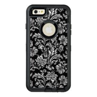 黒の光沢がある銀製のヴィンテージのダマスク織 オッターボックスディフェンダーiPhoneケース
