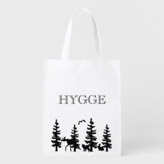 黒の動物が付いている松の木とのHygge エコバッグ
