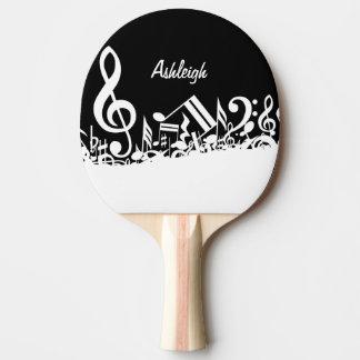 黒の名前入りで白く乱雑な音符 卓球ラケット
