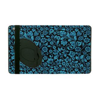 黒の彎曲部の青くきらびやかな花柄 iPad ケース